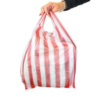 Red / White Candy Stripe Vest Carrier Bags Small 11x17x21